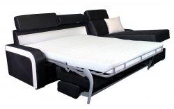 černá rohová sedací souprava na každodenní spaní DESTINE 140 LP