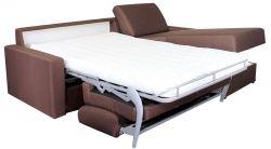 Rohová sedací souprava na každodenní spaní LENETA 160 hnědá