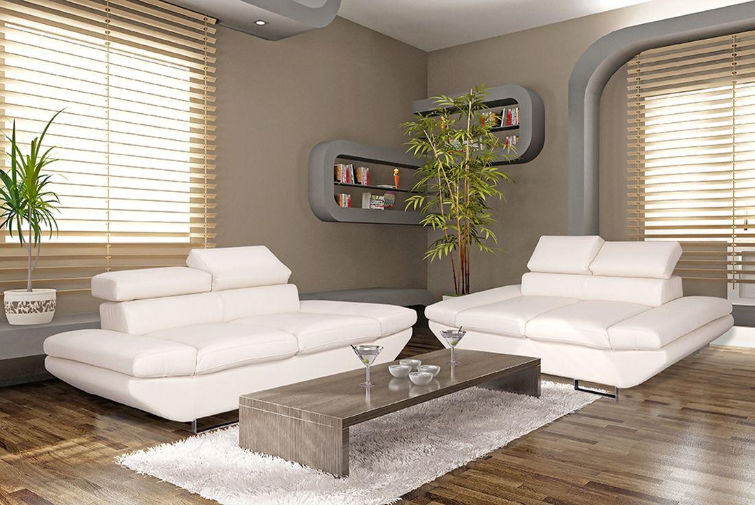 bílá sedací souprava 3+2+taburet MALVINA LP