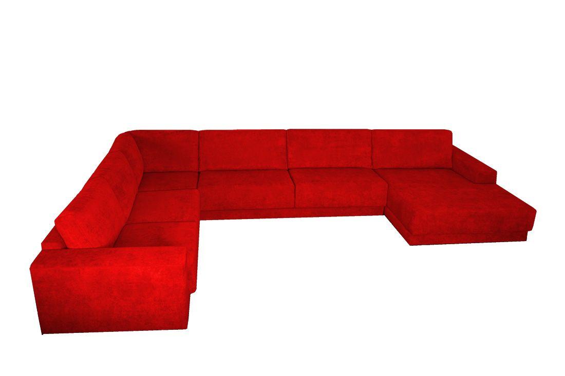 červená sedací souprava do tvaru U NORIKA LP