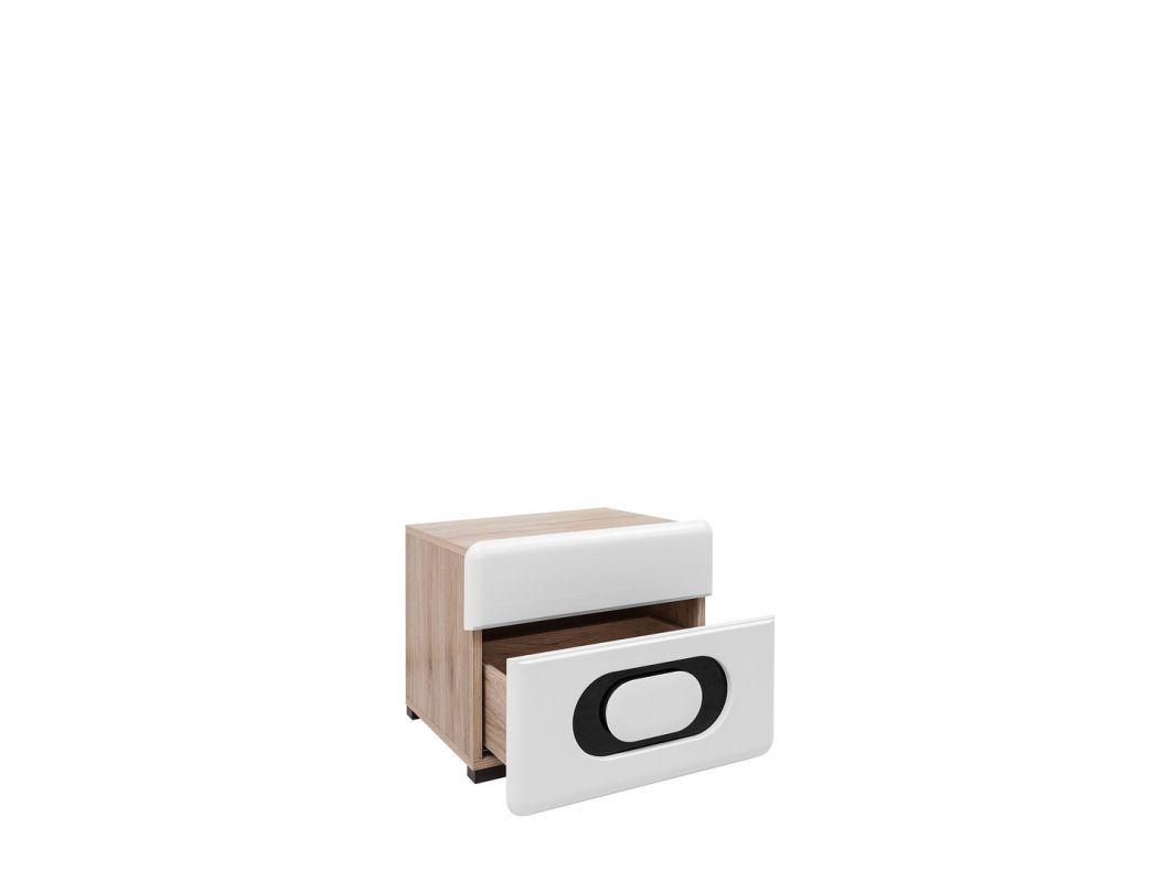 noční stolek BYRON KOM2S/4/5 bílý lesk/dub san remo světlý