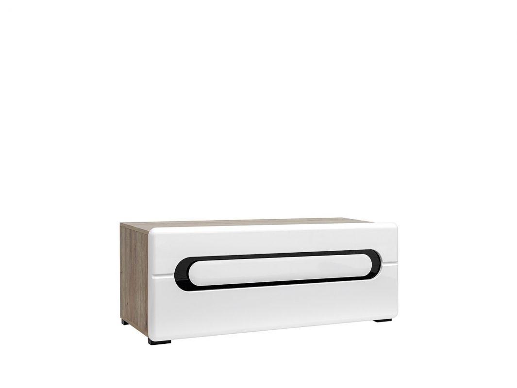 televizní stolek BYRON RTV1K/5/12 bílý lesk/dub san remo světlý
