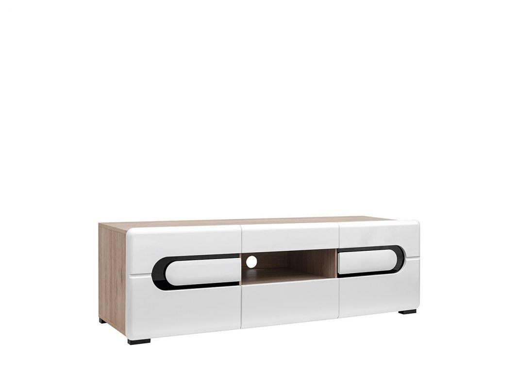 televizní stolek BYRON RTV2D2S/5/15 bílý lesk/dub san remo světlý