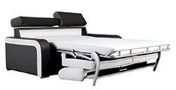 pohovka s postelí na každodenní spaní černá/bílá LP