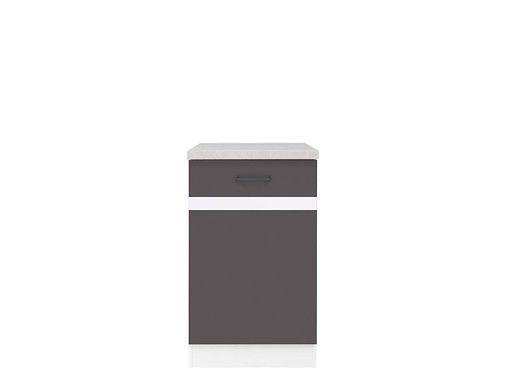 skříňka dolní JUNONA D1D/50/82 P bílá/bílý lesk/šedý wolfram ( prac. deska incanto )