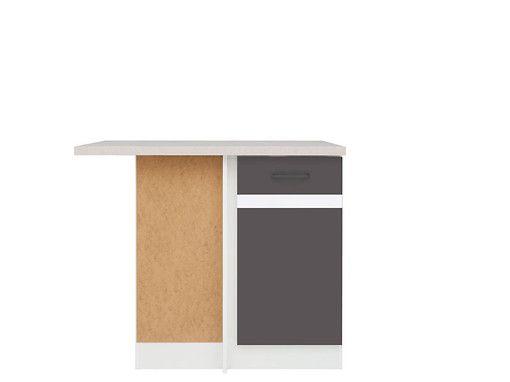 skříňka rohová JUNONA DNW/100/82 L bílá/bílý lesk/šedý wolfram ( prac. deska incanto )