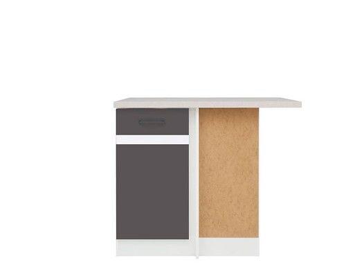 skříňka rohová JUNONA DNW/100/82 P bílá/bílý lesk/šedý wolfram ( prac. deska incanto )