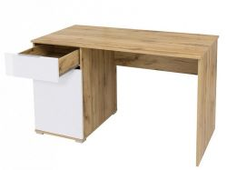 Zele Psací stůl BIU/120, dub wotan/bílý lesk