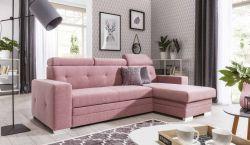 růžová rohová sedací souprava MORA