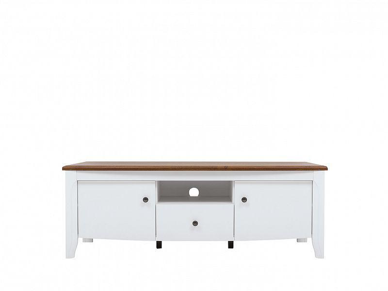 televizní stolek KALIO RTV2D1S, bílý lesk/akát zlatý