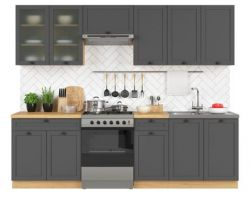 kuchyně SEMI LINE komplet 260 cm grafit 2