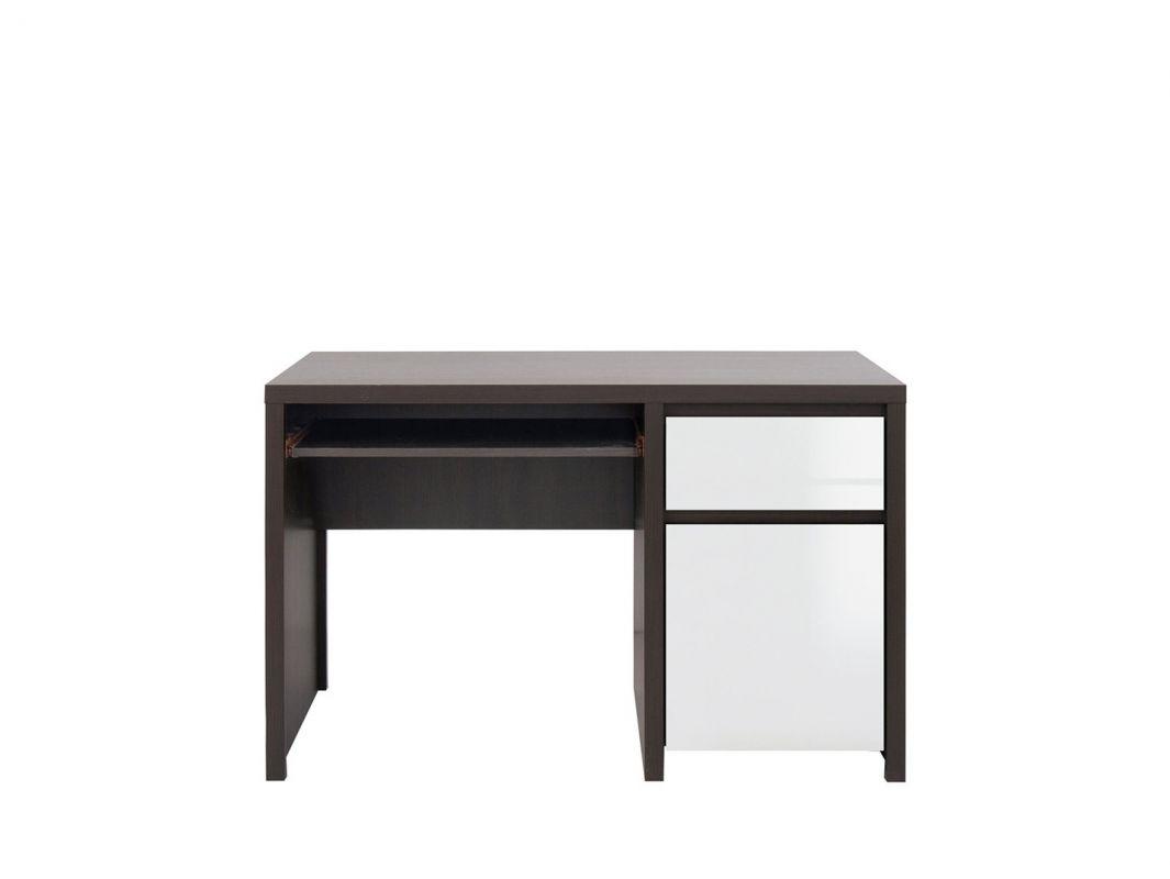 psací stůl KASPIAN BIU1D1S/120 wenge/bílý vysoký lesk