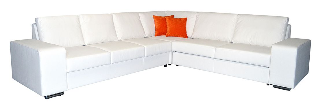 bílá rohová sedací souprava ANGIOLA LP
